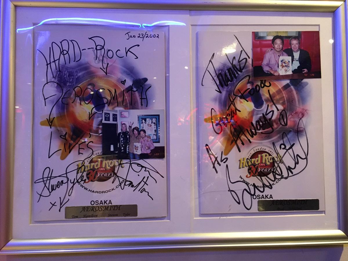 ハードロックカフェ大阪エアロスミスサイン